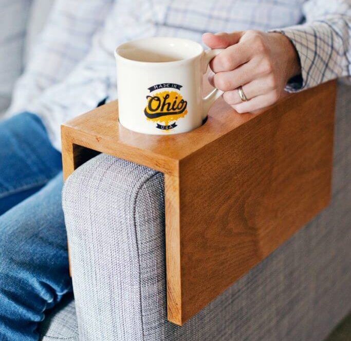 Wooden made sofa sleeve and cup holder