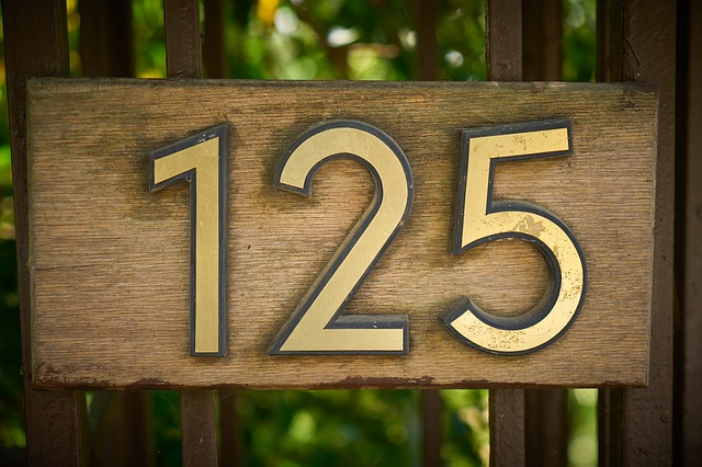 wooden made house number
